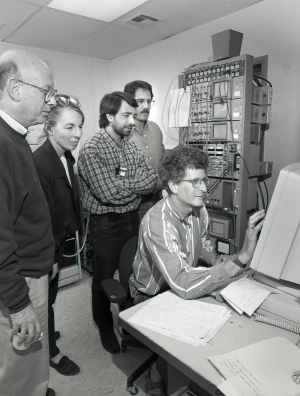Betsy and others in the control room of the target area of the alternating-gradient synchrotron